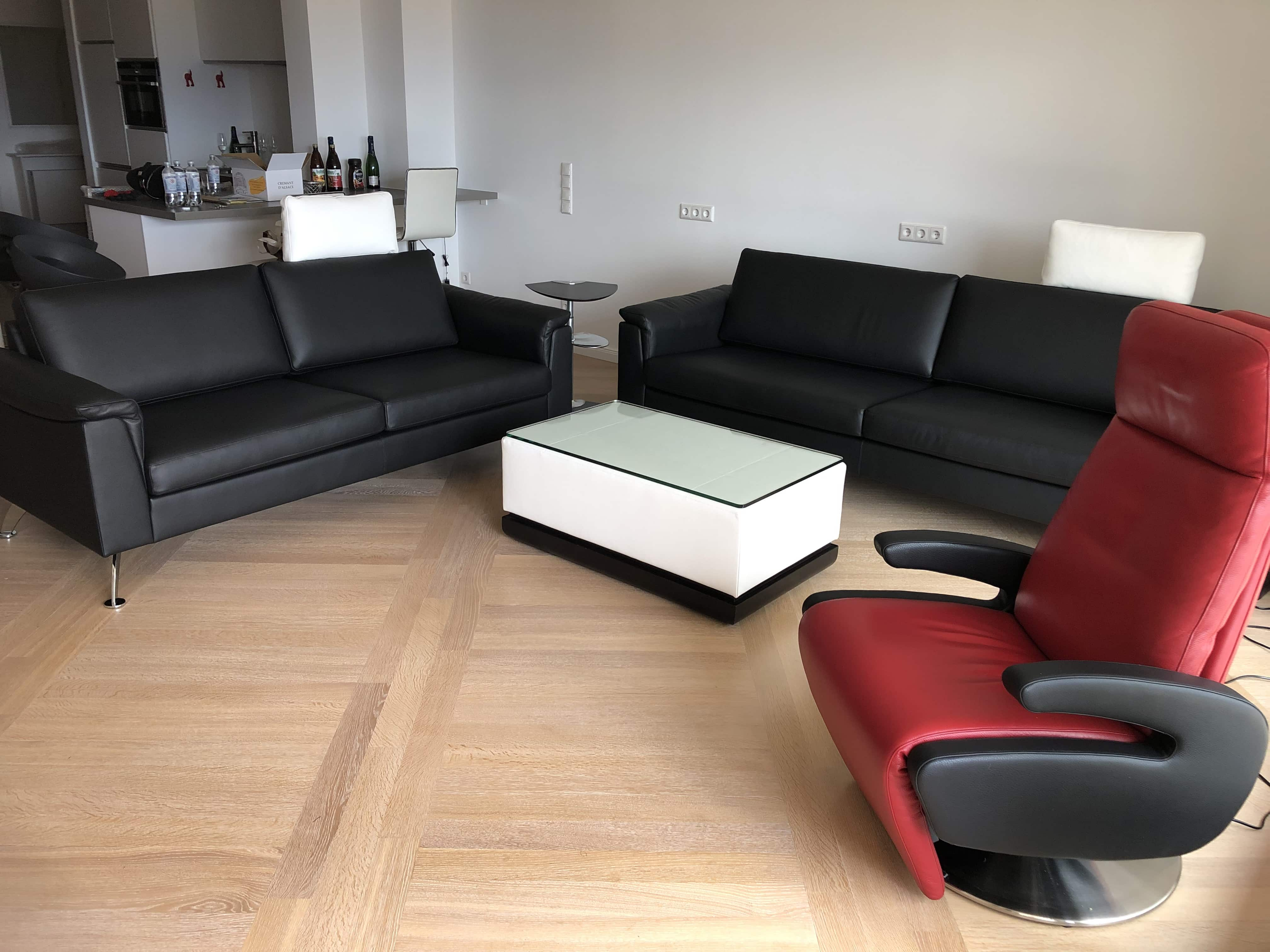Sofa Timeless + Sessel Nido + Couchtisch  Huevo